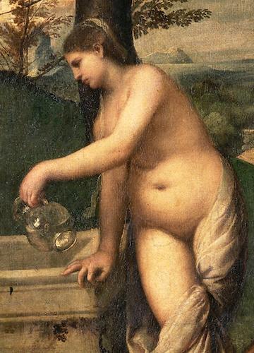 Standing nude (detail), Titian,Pastoral Concert, c. 1509, 105 x 137 cm (Louvre)