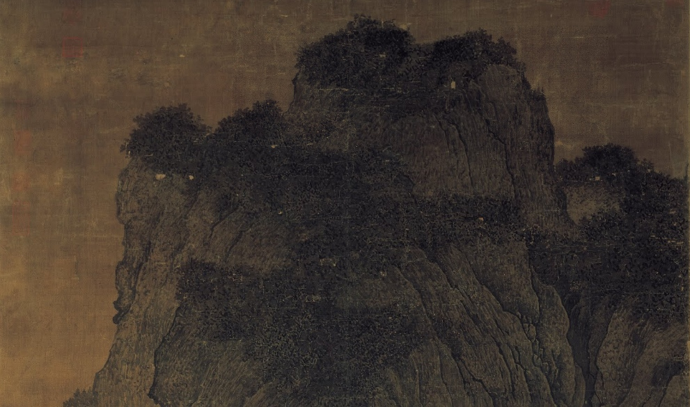 Central peak (detail), Fan Kuan, Travelers by Streams and Mountains, c. 1000, ink on silk hanging scroll, 206.3 x 103.3 cm. (National Palace Museum, Taibei)