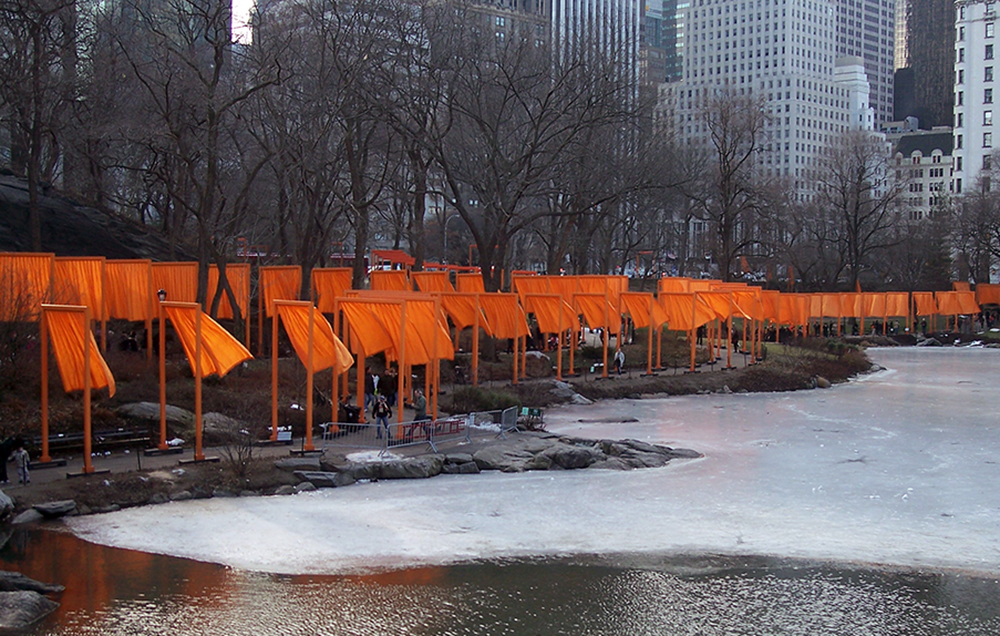 Christo and Jeanne-Claude, The Gates, 1979-2005 (view across the pond looking southeast) © 2005 Christo and Jeanne-Claude