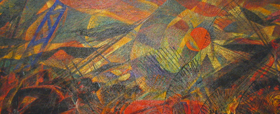 Top of canvas detail, Carlo Carrà, Funeral of the Anarchist Galli (I funerali del anarchico Galli), 1910-11, oil on canvas, 198.7 x 259.1 cm (The Museum of Modern Art, New York)