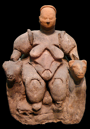 Seated Woman of Çatalhöyük (head is a restoration), The Museum of Anatolian Civilizations, Ankara, Turkey (photo: Nevit Dilmen, CC BY-SA 3.0)