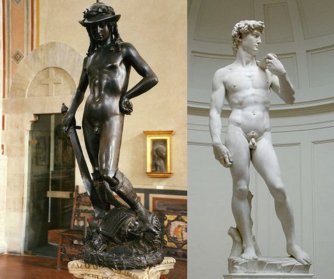 Left: Donatello, David, c. 1440s, bronze, 158 cm (Bargello, Florence) (photo: Patrick CC BY-SA 2.0); right: Michelangelo, David, 1501-04, marble, 518 cm (Galleria dell'Accademia, Florence) (photo: Rico Heil, CC BY-SA 3.0)
