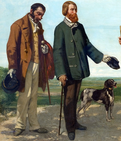 Bruyas and Calas (detail), Courbet, The Meeting (Bonjour Monsieur Courbet), 1854, oil on canvas, 129 x 149 cm (Musée Fabre, Montpellier)