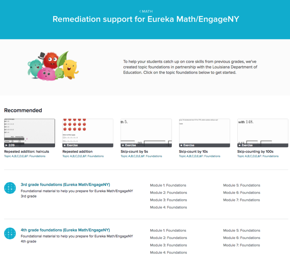 Remediation and Eureka Math / EngageNY (article) | Khan Academy
