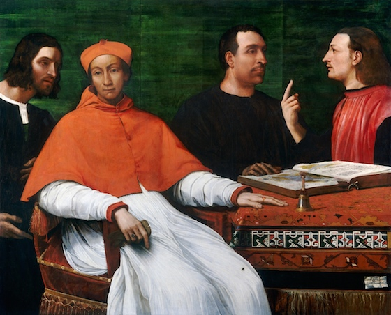 "Sebastiano del Piombo, Cardinal Bandinello Sauli, His Secretary, and Two Geographers, 1516, oil on panel, 121.8 x 150.4 cm / 47 15/16 x 59 3/16"" (National Gallery of Art, Washington, D.C.)"
