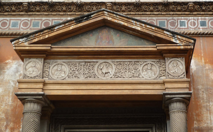 Pediment above the door of Santa Pudenziana, 4th century C.E., Rome