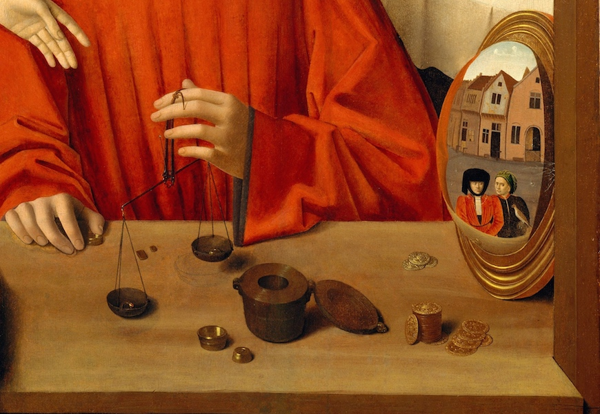 Still life and Mirror (detail), Petrus Christus, A Goldsmith in his Shop, 1449, oil on oak panel, 39 3/8 x 33 3/4 inches / 100.1 x 85.8 cm (The Metropolitan Museum of Art)