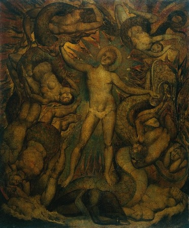 "William Blake, <em>The spiritual form of Nelson guiding Leviathan, in whose wreathings are infolded the Nations of the Earth</em>, c. 1805-9, tempera on canvas 30"" x 24"" / 76.2 x 62.5 cm (Tate Britain, London)"
