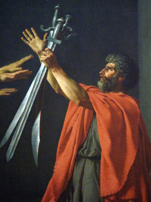 Father (detail), Jacques-Louis David, Oath of the Horatii, 1784, oil on canvas, 3.3 x 4.25m, commissioned by Louis XVI, painted in Rome, exhibited at the salon of 1785 (Musée du Louvre)
