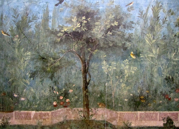 Painted Garden, removed from the triclinium (dining room) in the Villa of Livia Drusilla, Prima Porta, fresco, 30-20 B.C.E. (Museo Nazionale Romano, Palazzo Massimo, Rome)