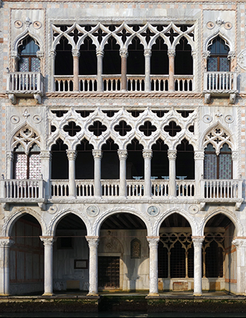 Lower loggia, middle and upper balconies, Ca' d'Oro, 1422-1440, Venice