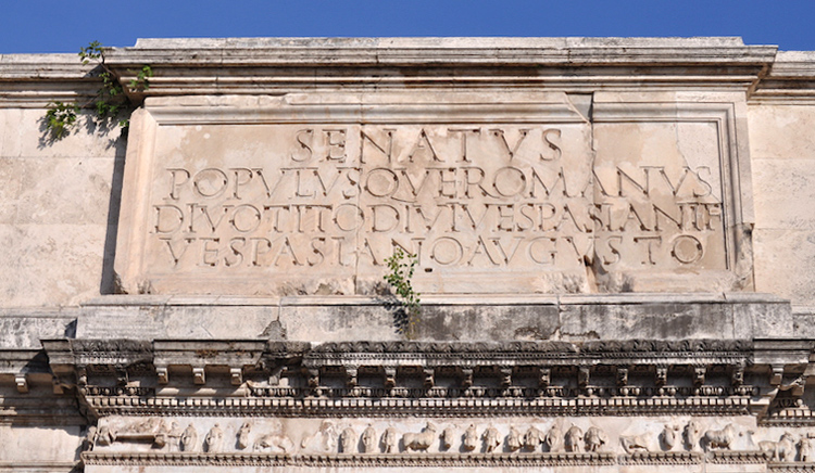 Attic inscription, Arch of Titus, after 81 C.E., Rome (photo: Dr. Steven Fine, used by permission)
