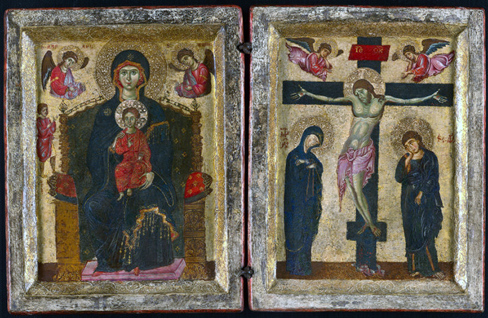 Diptych with the Virgin and Child Enthroned and the Crucifixion, 1275/80, tempera on panel, 38 x 59 cm (Art Institute of Chicago)