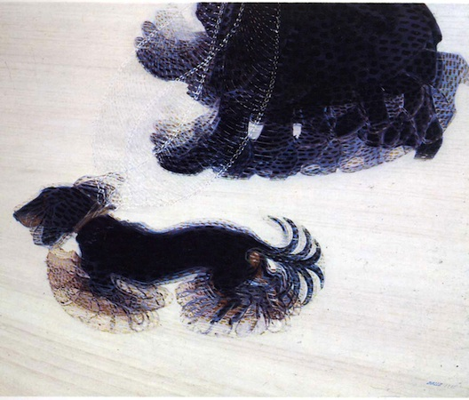 "Giacomo Balla, Dynamism of a Dog on a Leash, 1912, oil on canvas, 35 1/2 x 43 1/4 "" (Albright-Knox Art Gallery, Buffalo)"