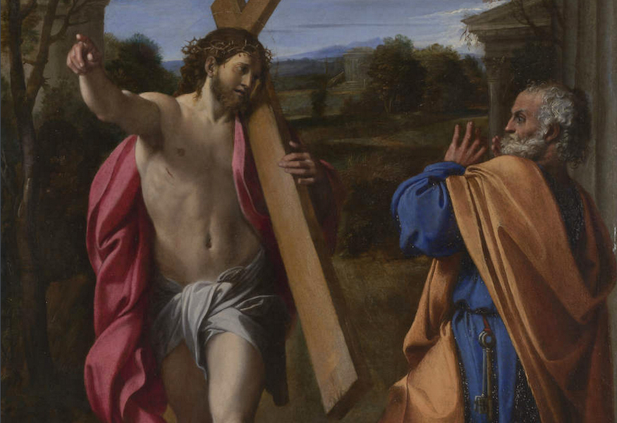 Detail, Annibale Carracci, Christ appearing to Saint Peter on the Appian Way (also known as Domine quo vadis), 1601-02, oil on wood, 77.4 x 56.3 cm (The National Gallery)