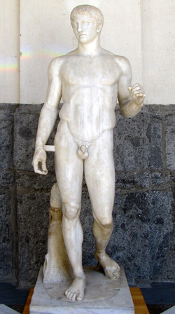 "Doryphoros (Spear Bearer), Roman copy after an original by the Greek sculptor Polykleitos from c. 450-440 B.C.E., marble, 6'6"" (Archaeological Museum, Naples)"