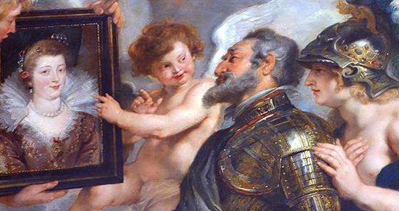 Cupid and King Henry discussing the portrait of Marie de Medici (detail), Peter Paul Rubens, The Presentation of the Portrait of Marie de' Medici, c. 1622-1625, oil on canvas, 394 x 295 cm (Musée du Louvre)
