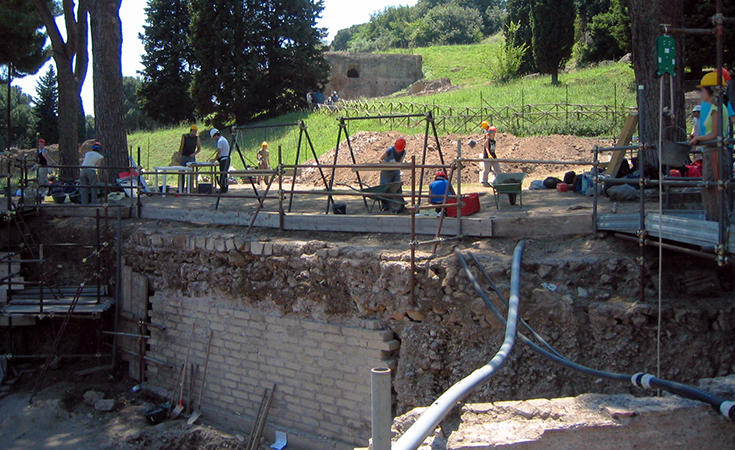 Recent excavation at the northeast corner of the Palatine Hill.