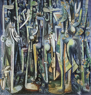 "Wilfredo Lam, The Jungle, 1942-43, gouache on paper mounted on canvas, 94-1/4 x 90-1/2"" / 239.4 x 229.9 cm (The Museum of Modern Art, New York)"