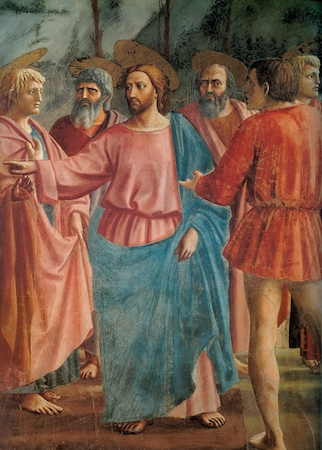 Christ and apostles (detail), Masaccio, Tribute Money, c. 1427, fresco (Brancacci Chapel, Santa Maria del Carmine, Florence)