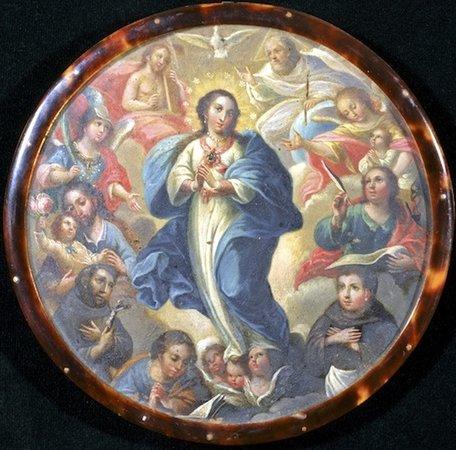 Escudo de monja, 18th century, oil on copper with tortoiseshell frame (San Antonio Museum of Art)