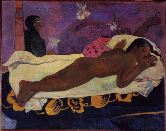 Paul Gauguin, Spirit of the Dead Watching, 1892, oil on burlap mounted on canvas, 116.05 x 134.62 x 13.34 cm (Albright-Knox Art Gallery, Buffalo, NY)