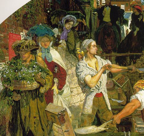 Plant seller (foreground), followed by two women, one, the artists wife, the other, distributing religions tracts (detail), Ford Madox Brown, Work, 1852-65, oil on canvas, 137 x 197.3 cm (Manchester City Art Galleries, Manchester)