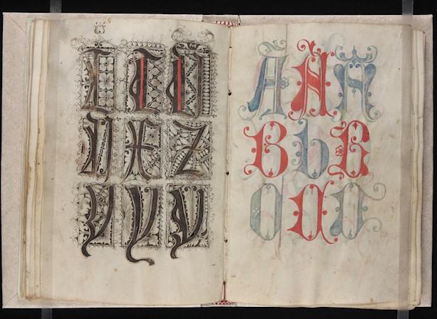 Gregorius Bock, Medieval Scribal Pattern Book, 1510-1517, Yale, Beinecke Library, MS 439, fols. 30v-31r