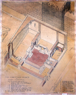 Isometric rendering of the Christian building at Dura-Europos (c. 240 C.E.), by Henry Pearson, 1932-34