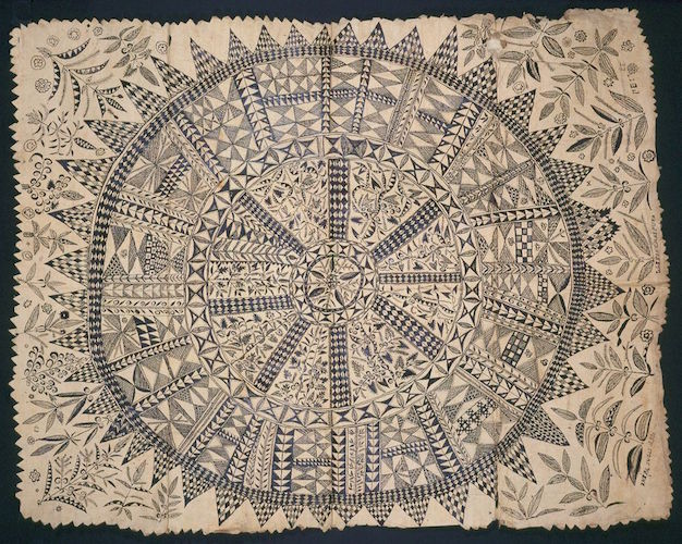 Hiapo (tapa), Niue, c. 1850–1900, Tapa or bark cloth, freehand painting
