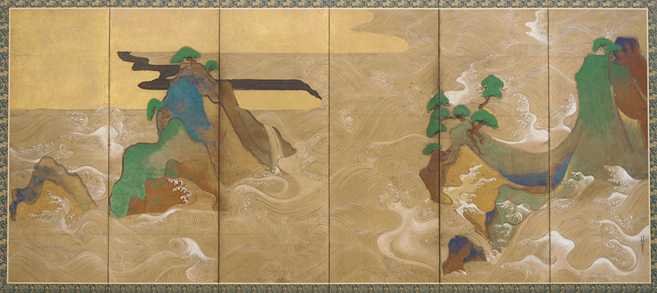 Tawaraya Sōtatsu, Waves at Matsushima, c. 1600–40, right side of a pair of six-panel folding screens, ink, color, gold, and silver on paper (Freer Gallery of Art, Smithsonian, Washington, D.C.)