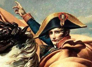 Napoleon (detail), Jacques-Louis David, Napoleon Crossing the Alps or Bonaparte at the St Bernard Pass, 1800-1, oil on canvas, 261 x 221 cm (Chateau de Malmaison, Rueil-Malmaison)