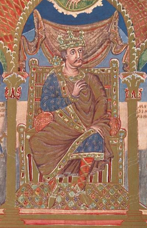 Charles (detail), Ruler portrait of Charles the Bald, Codex Aureus of Saint Emmeram, 9th century (Munich, Bayerische Staatsbibliothek, Clm.14000, f. 5 v.)