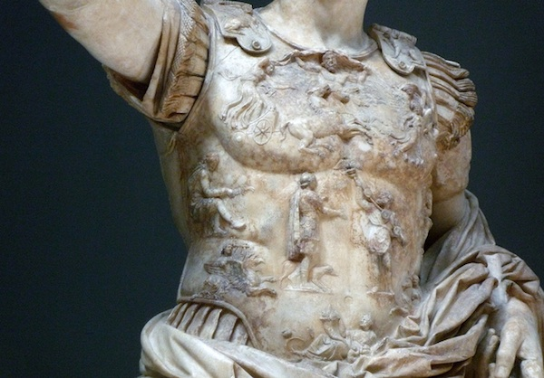Detail of breastplate, Augustus of Primaporta, 1st century C.E., marble, 2.03 meters high (Vatican Museums)