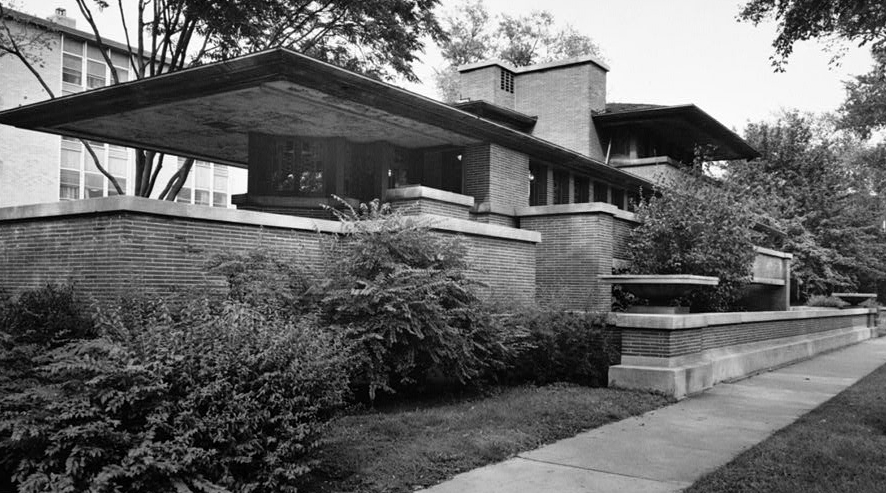 "Frank Lloyd Wright, Frederick C. Robie House, Historic American Buildings Survey, Cervin Robinson, Photographer, 18 August 1963, exterior from southwest, 5757 Woodlawn Avenue, Chicago, Cook County, IL, 5 x 7"" (Library of Congress HABS ILL,16-CHIG,33--3)"