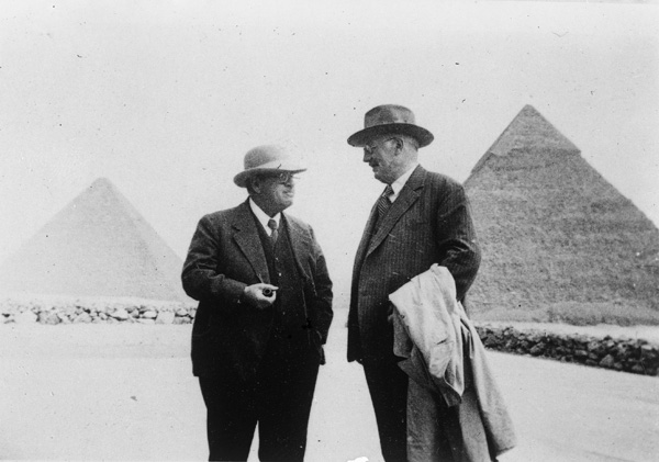 George Reisner and Georg Steindorff at Harvard Camp, looking E toward Khufu and Khafre pyramids, 1935, photo by Albert Morton Lythgoe (Giza archives)