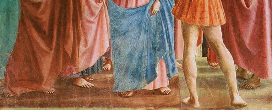 (detail), Masaccio, Tribute Money, c. 1427, fresco (Brancacci Chapel, Santa Maria del Carmine, Florence)