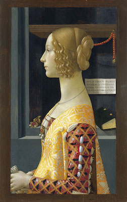 Domenico Ghirlandaio, Portrait of Giovanna Tornabuoni, 1489-90, mixed technique on panel, 77 x 49 cm (Museo Thyssen-Bornemisza, Madrid)