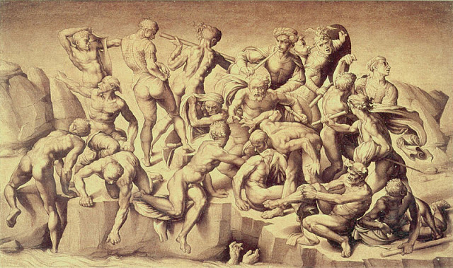 Aristotele da Sangalla, Battle of Cascina (after a lost Michelangelo), 1504-06, oil on panel (Holkham Hall, England)