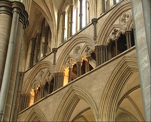 Salisbury Cathedral, top of the nave arcade, above that the gallery, and above that, the windows of the clerestory.