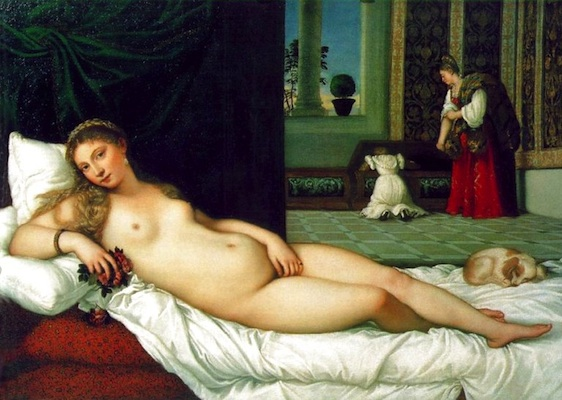 Titian, Venus of Urbino, 1538, oil on canvas, 119.20 x 165.50 cm (Galleria degli Uffizi, Florence)