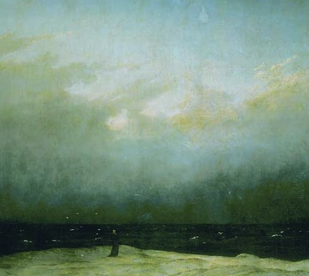 Monk (detail), Caspar David Friedrich, Monk by the Sea, c. 1809