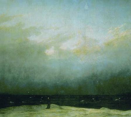 Monk (detail), Caspar David Friedrich, Monk by the Sea, c. 1809