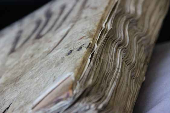 Late medieval binding that has lost its clasps, Leiden, University Library, BPL MS 96 (14th century) (photo: Erik Kwakkel)