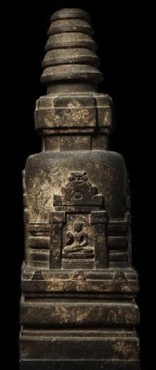 Votive Stupa, Bodhgaya, 8th century, stone, 78 x 44 x 35 cm (Ashmolean Museum, Oxford)