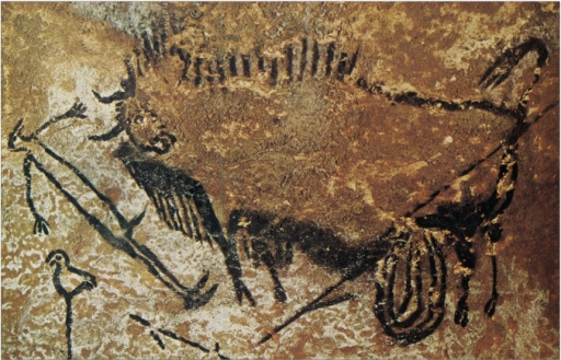 Disemboweled bison and bird-headed human figure? Cave at Lascaux, c. 16,000-14,000 B.C.E.