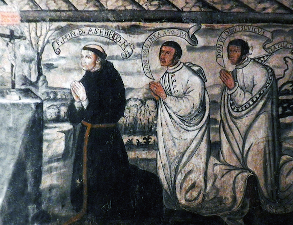 Friar Martín de Acevedo, Don Juan Atocpa, and Don Pedro Izquicuitlapico (detail), stairway murals, Convent of San Nicolás Tolentino, 1546 and after, Actopan, Hidalgo, Mexico