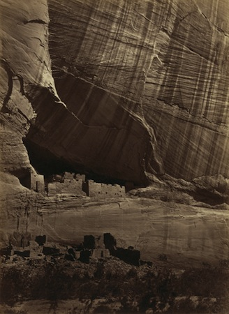 Timothy O'Sullivan, Ancient Ruins in the Cañon de Chelle, 1873, photographic albumen print, 27.5 x 20.2 cm (The J.Paul Getty Museum)