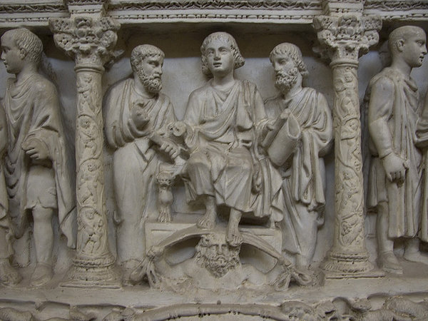 Traditio legis, Sarcophagus of Junius Bassus, 359 C.E., marble, (Treasury of St. Peter's Basilica)