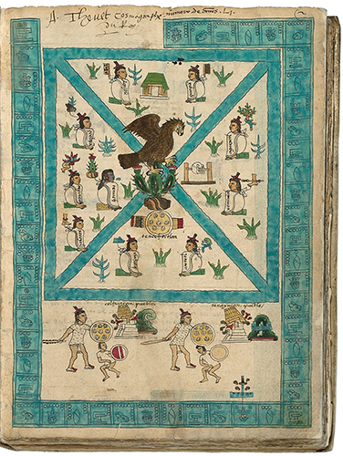 Frontispiece, Codex Mendoza, Viceroyalty of New Spain, c. 1541–1542, pigment on paper © Bodleian Libraries, University of Oxford